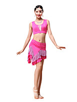 Belly Dance Outfits Women's Training Modal Rhinestones / Draped 2 Pieces Black / Fuchsia / Purple / Orange / Burgundy