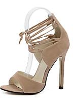 Calçados Femininos-Sandálias-Saltos / Plataforma / Bico Aberto-Salto Agulha-Preto / Amêndoa-Flanelado-Social / Festas & Noite