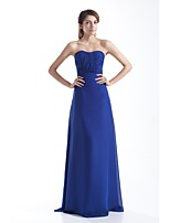 Formal Evening Dress Sheath / Column Strapless Floor-length Chiffon with Draping