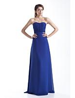 Formal Evening Dress-Royal Blue Sheath/Column Strapless Floor-length Chiffon