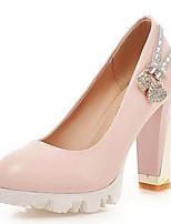 Zapatos de mujer-Tacón Robusto-Tacones-Tacones-Oficina y Trabajo / Vestido / Fiesta y Noche-Semicuero-Azul / Rosa / Blanco