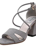 Women's Shoes Fleece Summer Heels Outdoor / Casual Chunky Heel Buckle Black / Gray