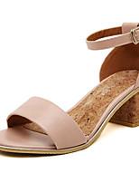 Women's Shoes Leatherette Summer Heels Outdoor / Casual Chunky Heel Buckle Pink / Beige