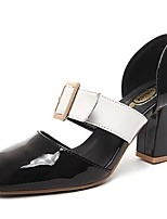 Women's Shoes Patent Leather Spring / Summer / Fall Heels Casual Chunky Heel Buckle Black / White