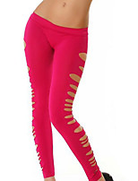 Women Solid Color / Shredded Legging,Polyester / Spandex Medium