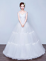 Ball Gown Wedding Dress Floor-length Sweetheart Tulle with Appliques / Beading / Lace / Pearl