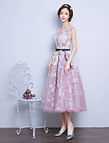 Cocktail Party Dress Ball Gown Jewel Tea-length Lace / Organza with Sash / Ribbon
