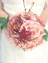 Wedding Flowers Round Peonies Bouquets Wedding Pink Polyester / Satin 7.87