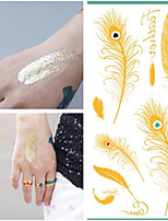 Metallic Waterproof Tattoo Gold Silver Women Fashion Henna  Peacock Feather Design Temporary Tattoo Stick Paster
