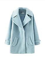 Women's Solid Blue Coat,Simple Long Sleeve Nylon