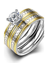 2016 Luxury Polka Dot Silver Zircon Titanium Steel Romantic Wedding Couple Ring