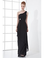 Formal Evening Dress Sheath / Column One Shoulder Floor-length Chiffon with Crystal Detailing / Side Draping