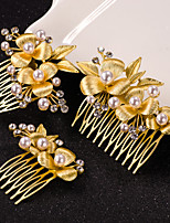 3pcs Leaf Hair Combs with Crystal Pearl Hair Jewelry