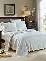 100% Cotton Embroidery Floral 3 pieces Quilted Bedspread set,2 color ,King Size