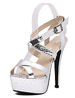Women's Shoes Leatherette Stiletto Heel Peep Toe / Platform Sandals Casual Black / Silver