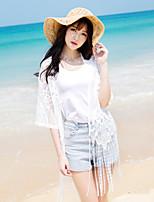 Women's Beach Boho / Street chic Summer Shirt,Solid V Neck ½ Length Sleeve Pink / White Rayon / Polyester Sheer
