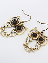 Fashion Vintage Retro Smart Owl Pendant Earrings Cute Bronze Alloy Drop Earrings with Rhinestone Women Animal Jewelry