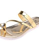 Chaussures Femme-Extérieure / Habillé / Décontracté-Argent / Or-Talon Plat-Chaussons-Sandales / Chaussons-PU