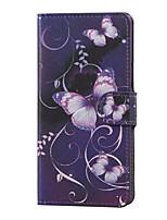 фиолетовая бабочка магнитная пу кожаный бумажник флип стенд чехол для LG X220 K5