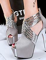 Chaussures Femme-Soirée & Evénement / Habillé-Noir / Bleu / Rose / Gris-Talon Aiguille-Talons / Bout Ouvert-Talons-Similicuir