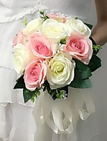 Wedding Flowers Round Roses Bouquets Wedding / Party/ Evening Multi-color Satin 11.02