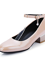 Women's Shoes Patent Leather Chunky Heel Basic Pump / Square Toe Heels Dress / Casual Black / Red / White / Almond