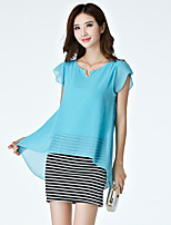 Women's Sexy / Simple Patchwork Plus Size / Sheath Dress,Round Neck Above Knee Polyester / Spandex