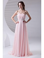 Formal Evening Dress-Pearl Pink A-line Strapless Sweep/Brush Train Chiffon