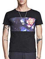 Summer Men's Round Neck Short Sleeve Personality Floral Printing T-Shirt Casual Slim Tops