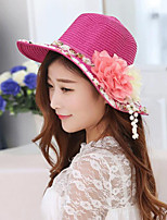 Women Straw Flowers Color Block Floppy Hat,Party / Casual Spring / Summer / Fall
