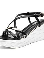 Women's Shoes Synthetic Platform Peep Toe / Creepers Sandals Office & Career / Party & Evening/Dress/Casual Black/White
