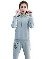 Hoodies Aux femmes Sportif Actif Couleur Pleine Noir / Gris Polyester