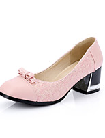 Calçados Femininos-Saltos-Arrendondado / Bico Fechado-Salto Grosso-Preto / Amarelo / Rosa / Branco-Courino-Escritório & Trabalho / Social