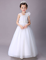 Ball Gown Floor-length Flower Girl Dress-Cotton / Satin / Tulle Sleeveless