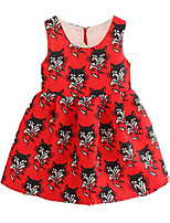 Girl's Red / Beige Dress,Floral Polyester Summer / Spring