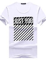 Herren T-shirt-Druck Freizeit / Büro / Formal / Sport / Übergröße Baumwolle Kurz-Schwarz / Weiß