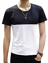 Summer Men's Round Neck Short Sleeve Collision Color Slim Casual Youth T-Shirt Tops