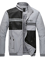 Men's Long Sleeve Jacket,Cotton / Polyester Casual Patchwork 916085