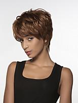 court ondulé main remy de cheveux humains aux cheveux filasse attaché dessus perruque pour femme de
