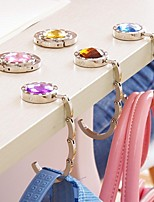Fashion Rhinestone Bag Keeper Folded Purse Bag Holder Metal Hangbag Hook(Random Color)