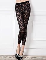 Women Stitching Lace Legging,Lace / Nylon Thin