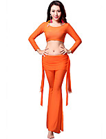 Belly Dance Outfits Women's Training Tulle Draped 3 Pieces Black / Blue / Orange / Purple Belly Dance Long Sleeve NaturalPants / Top /