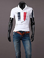 Men's Fashion Print Turn Down Collar Slim Fit Short-Sleeve Polos, Cotton/Polyester/Print