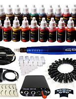 Solong Tattoo Rotary Tattoo Machine & Permanent Makeup Pen 50 Needle Cartridges Ink Set Power Supply Foot Pedal  EK103-4