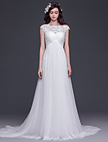 A-line Wedding Dress-White Court Train Scoop Lace / Tulle