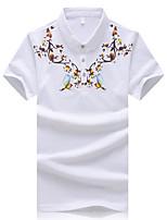 Men's Fashion Slim Pattern Printed Short Sleeved Polo Shirt,Cotton / Polyester Casual / Plus Sizes Print