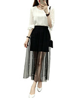 Women's Solid White / Black Skirts,Holiday / Street chic Midi
