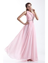 Formal Evening Dress-Blushing Pink A-line One Shoulder Floor-length Chiffon