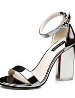 Chaussures Femme-Décontracté-Violet / Argent / Gris / Or / Champagne-Gros Talon-Talons-Sandales-Similicuir