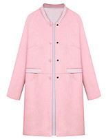 Women's Solid Blue / Pink Coat,Street chic Long Sleeve Polyester
